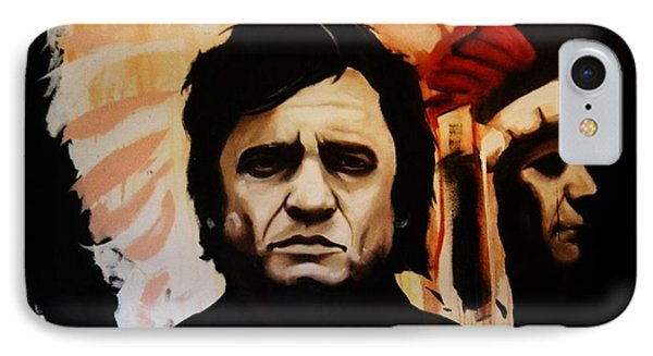 Johnny Cash And Indian IPhone Case by Matt Burke