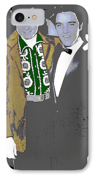IPhone Case featuring the photograph Johnny Cash  Elvis Presley Backstage Memphis Tn  Photographer Unknown  by David Lee Guss