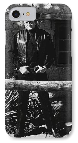 IPhone Case featuring the photograph Johnny Cash Gunslinger Hitching Post Old Tucson Arizona 1971  by David Lee Guss