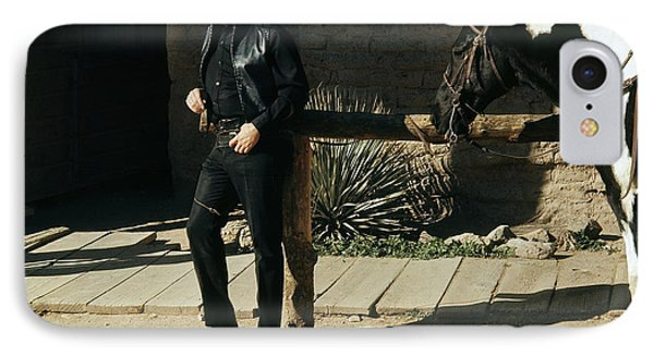 IPhone Case featuring the photograph Johnny Cash Horse Old Tucson Arizona 1971 by David Lee Guss