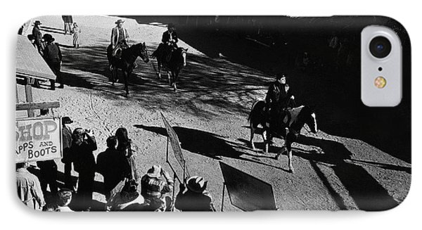 IPhone Case featuring the photograph Johnny Cash Riding Horse Filming Promo Main Street Old Tucson Arizona 1971 by David Lee Guss