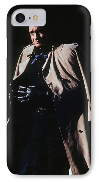 IPhone Case featuring the photograph Johnny Cash Trench Coat Old Tucson Arizona 1971 by David Lee Guss