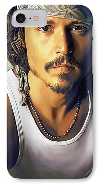 Johnny Depp Artwork IPhone Case by Sheraz A