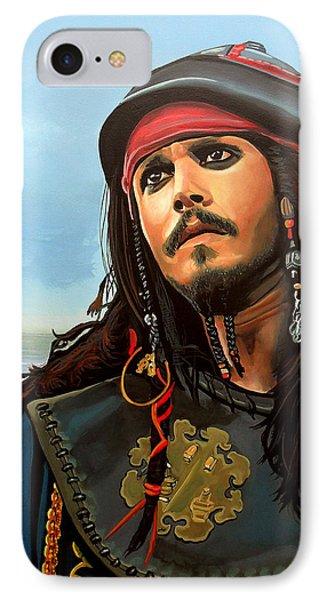 Johnny Depp As Jack Sparrow IPhone 7 Case by Paul Meijering