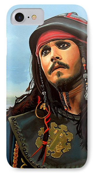 Johnny Depp As Jack Sparrow IPhone Case by Paul Meijering