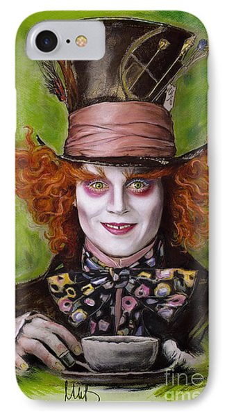 Johnny Depp As Mad Hatter IPhone 7 Case by Melanie D
