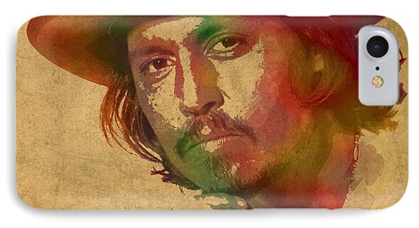 Johnny Depp Watercolor Portrait On Worn Distressed Canvas IPhone Case by Design Turnpike