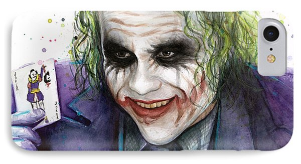 Joker Watercolor Portrait IPhone 7 Case by Olga Shvartsur