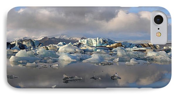 Jokulsarlon Glacier Lagoon Panorama IPhone Case by IPics Photography