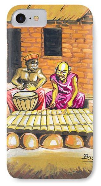 Joueurs De Balafon Et De Tam Tam IPhone Case by Emmanuel Baliyanga