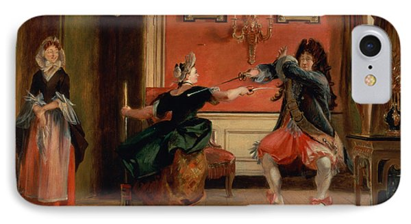Jourdain Fences His Maid, Nicole With His Wife Looking On. Scene From Le Bourgeois Gentilhomme, Act IPhone Case by Charles Robert Leslie