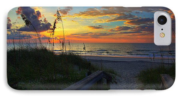 Joy Comes In The Morning Sunrise Carolina Beach Nc Phone Case by Wayne Moran