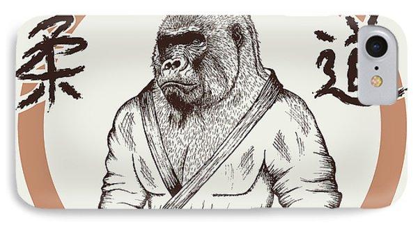 T Shirts iPhone 7 Case - Judoka Gorilla Dressed In Kimono. Hand by Dimonika