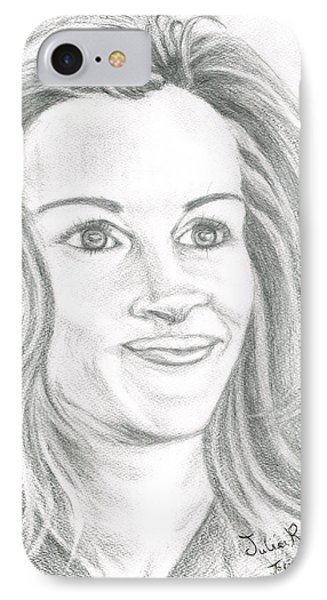 IPhone Case featuring the drawing Julia Roberts by Teresa White
