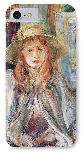 Julie Manet With A Straw Hat Phone Case by Berthe Morisot