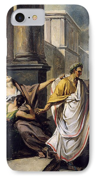 Julius Caesar 100-44 Bc On His Way To The Senate On The Ides Of March Oil On Canvas Study IPhone Case by Abel de Pujol