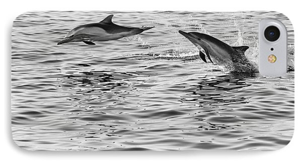 Jump For Joy - Common Dolphins Leaping. Phone Case by Jamie Pham