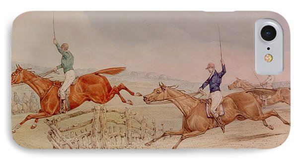 Jumping A Fence Phone Case by Henry Thomas Alken