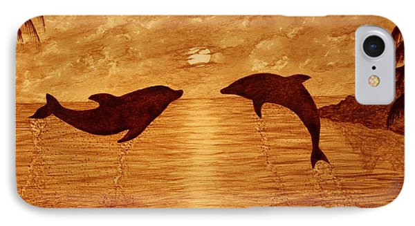 Jumping Dolphins At Sunset Phone Case by Georgeta  Blanaru