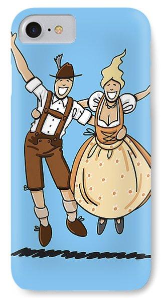 Jumping Oktoberfest Lovers Phone Case by Frank Ramspott