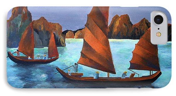 IPhone Case featuring the painting Junks In The Descending Dragon Bay by Tracey Harrington-Simpson