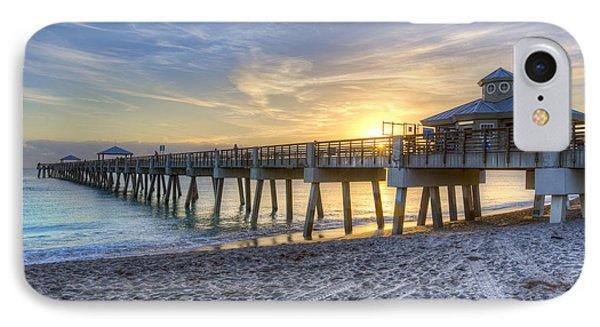 Juno Beach Pier At Dawn Phone Case by Debra and Dave Vanderlaan