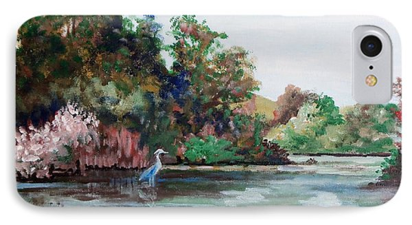 IPhone Case featuring the painting Just Up The River From My House by Jim Phillips
