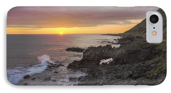 Kaena Point Sea Arch Sunset - Oahu Hawaii Phone Case by Brian Harig
