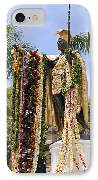 Kamehameha Covered In Leis Phone Case by Brandon Tabiolo