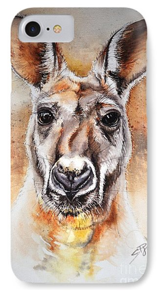 IPhone Case featuring the painting Kangaroo Big Red by Sandra Phryce-Jones