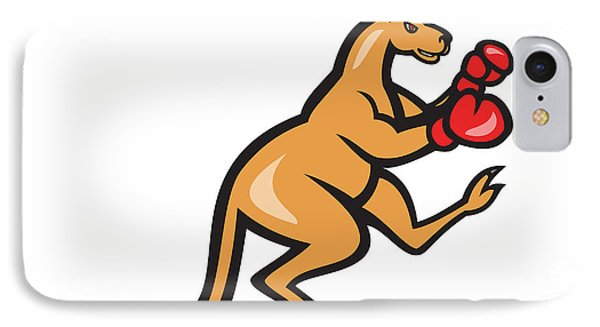 Kangaroo Kick Boxer Boxing Cartoon Phone Case by Aloysius Patrimonio