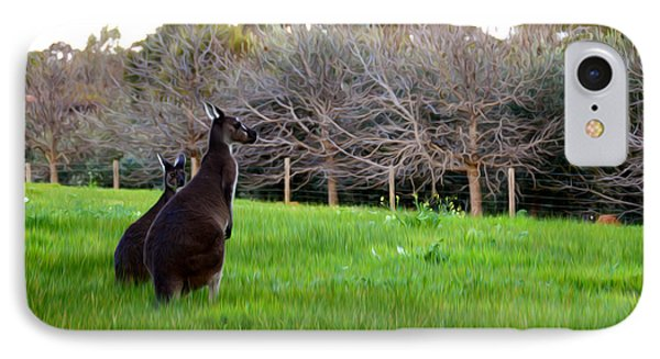 Kangaroos Together IPhone Case by Phill Petrovic