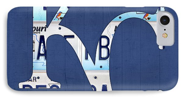Kansas City Royals Recycled License Plate Art Baseball Logo IPhone Case by Design Turnpike