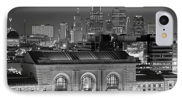Kansas City Skyline At Night Kc Downtown Black And White Bw Panorama IPhone Case by Jon Holiday