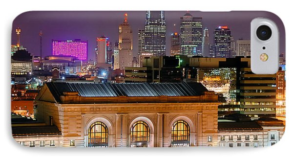 Kansas City Skyline At Night Kc Downtown Color Panorama IPhone Case by Jon Holiday