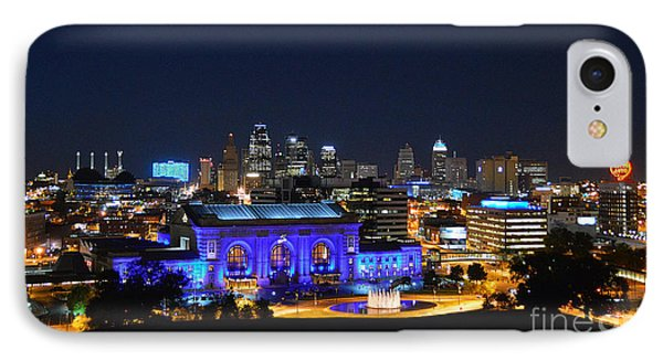 Kansas City Union Station In Blue  IPhone Case by Catherine Sherman
