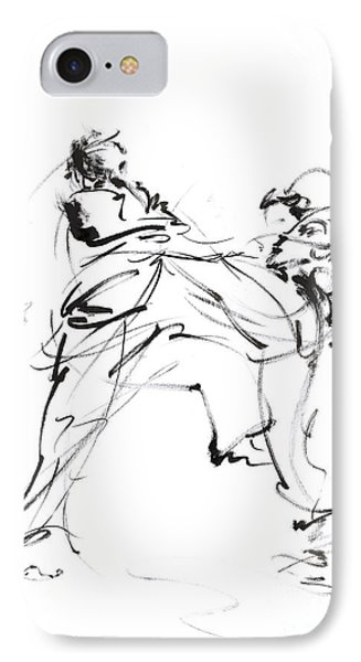 Karate Martial Arts Kyokushinkai Japanese Kick Oyama Ko Knock Out Japan Ink Sumi-e IPhone Case by Mariusz Szmerdt
