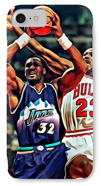Karl Malone Vs. Michael Jordan IPhone Case by Florian Rodarte