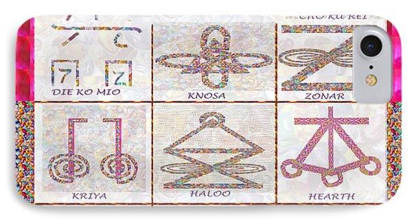 Karuna Reiki Healing Power Symbols Artwork With  Crystal Borders By Master Navinjoshi IPhone Case by Navin Joshi