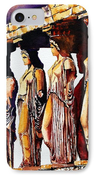 IPhone Case featuring the painting Karyatides by Maria Barry