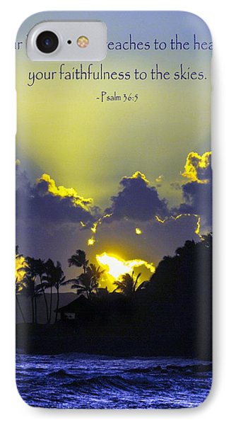 Kauai Sunset Psalm 36 5 IPhone Case by Debbie Karnes