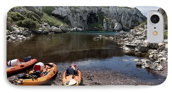 Kayak Time - The Landscape Of Cales Coves Menorca Is A Great Place For Peace And Sport Phone Case by Pedro Cardona Llambias