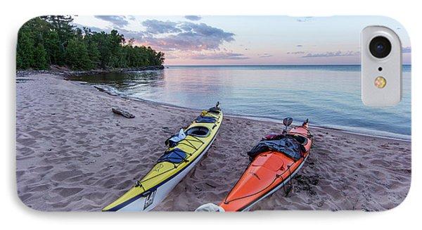 Kayaks On Sand Beach At York Island IPhone Case by Chuck Haney