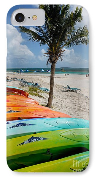 Kayaks On The Beach Phone Case by Amy Cicconi