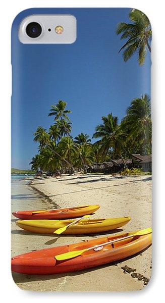 Kayaks On The Beach, Plantation Island IPhone Case by David Wall