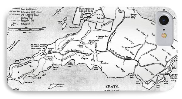 Keats Island Map - Canadian Island  IPhone Case by Sharon Cummings