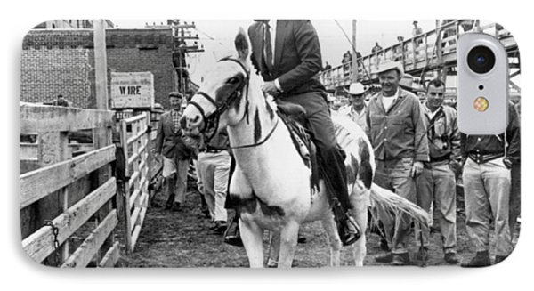 Kennedy Rides A Mule IPhone Case by Underwood Archives
