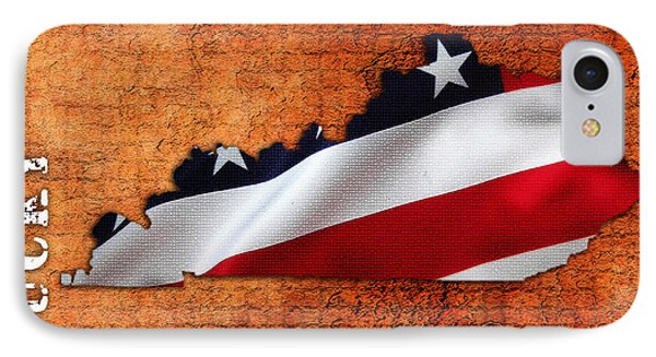 Kentucky American Flag State Map IPhone Case