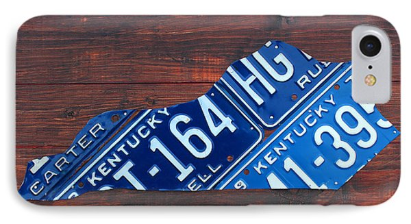 Kentucky License Plate Map The Bluegrass State IPhone Case by Design Turnpike
