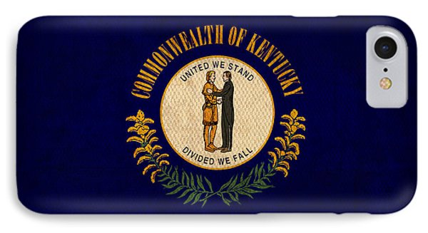 Kentucky State Flag Art On Worn Canvas Phone Case by Design Turnpike